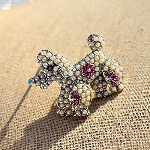 女の子動物合金パールBreastpin、犬漫画の真珠のブローチピン、ブローチピンフェイクパールブローチ