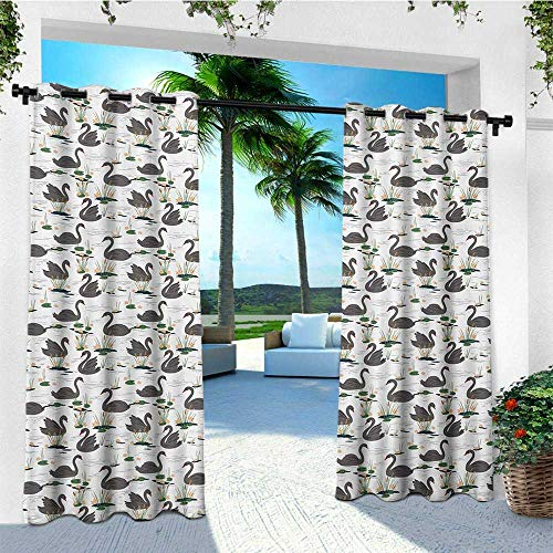 Cattail Wire Mesh - leinuoyi Swan, Outdoor Curtain Set, Grey Animals Swimming on a Lake with Plants Water Lilies and Cattails Calm Nature, Fabric by The Yard W108 x L108 Inch Multicolor