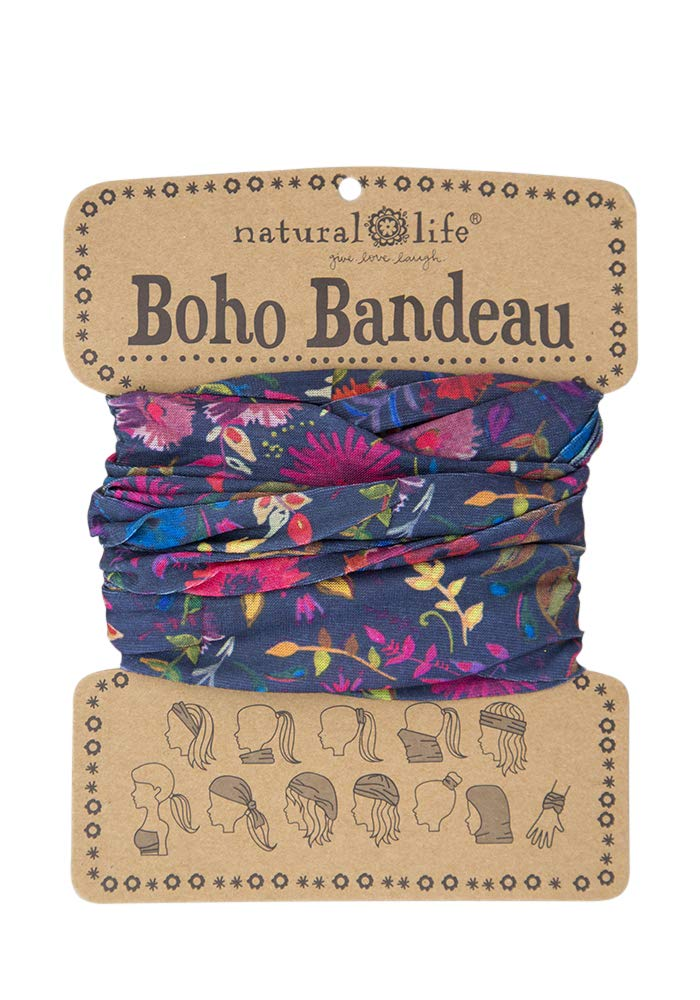 "Natural Life Boho Bandeau Headband - Versatile, Wide, Hairband That Stays In Place, 12 Ways To Wear, The Perfect Accessory - Navy Wildflowers 18""L x 10""W"