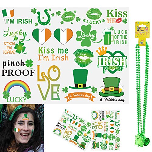 St Patricks Day Accessories for Kids - Temporary Tattoos Irish Birthday Gift Party Favors Supplies Set Saint Patricks Shamrock Lucky Pinch Proof Decorations for Kids Adults (18x3pcs) ()