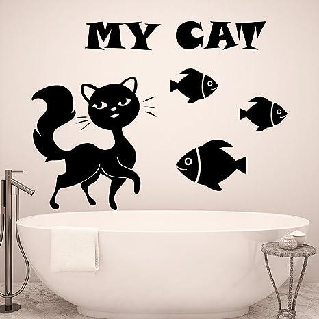 My Cat Art Design Quotes Tatuajes de pared con siluetas de peces ...