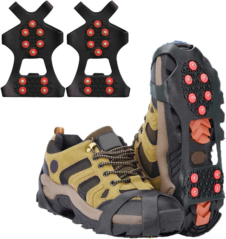 LERTREE 1 Pair Ice Snow Grips 10 Studs Anti Slip Snow Ice Climbing Shoe Spikes Slip on Boots Shoes Cover for Hiking Fishing