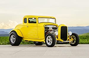 LAMINATED 36x24 inches Poster: Classic Car Muscle Car Old Car Yellow Canary Yellow Canary Car Classic Muscle Transportation Retro Vintage Automobile Vehicle Auto Speed Hot Rod Fast Hot Rod