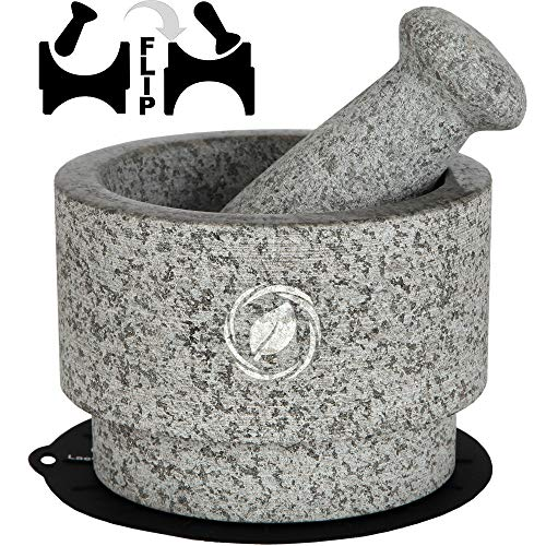 Mortar and Pestle Set - 5.5 Inch, 17 Oz - Unique Double Sided - Pestle and Mortar Bowl Solid Stone Grinder - Guacamole Mortar and Pestle Large - INCLUDED: Silicone Lid/Mat and Spoon