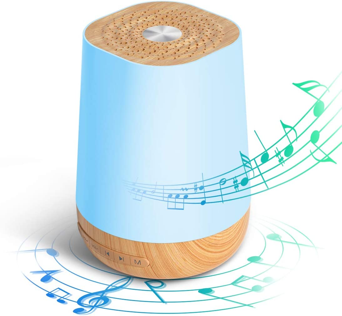White Noise Machine for Sleeping Baby Kids Adults, JUHOT 28 Hi-Fi No-looping Nature Sounds Sleep Therapy Machine, with 15 Colorful Night Lights, Timer & Memory Function - Wood Grain