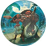"""Moana Paper Plates, Large Round 9"""" inch Dinner plates, Partyware tableware Party Decorations Disney Movie -10 pcs"""
