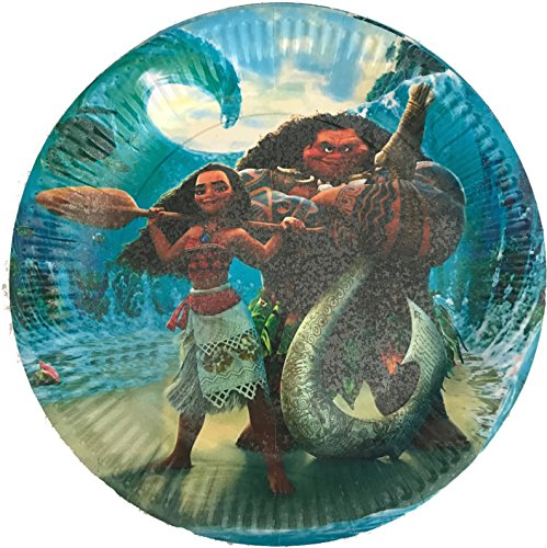 30 pcs Moana Paper Plates, Large Round 9 inch Dinner plates, Partyware tableware Party Decorations Disney Movie Maui Hawaii Luau