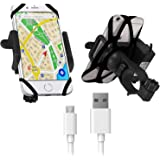 Blackcat Mobile Holder with Charger for Bikes Compatible with All Smartphones (Black)