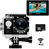 4K Ultra HD Action Camera with Wifi,Sports Action Cam By GT ROAD,Waterproof 98 Feet(30m)+170° Wide Angle Lens+2.0 Inch LCD Screen+16GB TF Card as A Gift Included