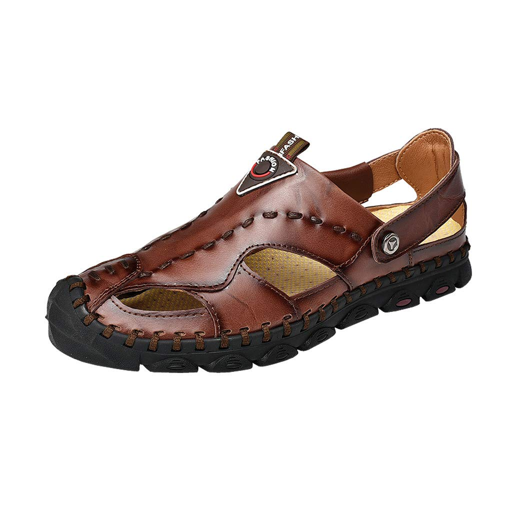 Corriee Sandal Men Summer Casual Breathable Flats Shoes Fashion Closed Toe Leather Sandals Brown