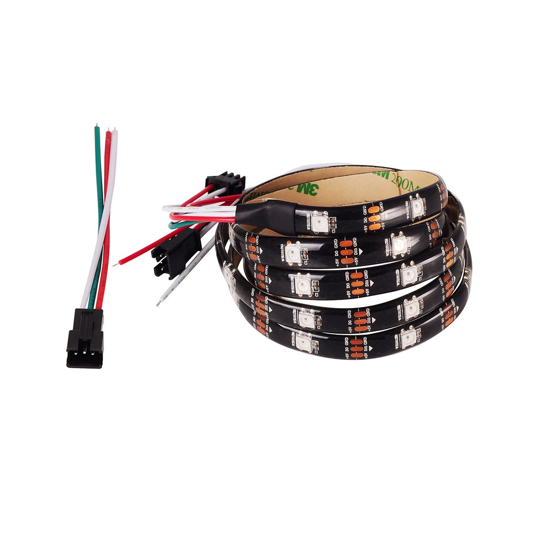 BTF-LIGHTING 3.2FT 1m WS2812b 30leds 30pixels Impermeable IP65 Negro PCB Flexible individualmente direccionable Tira Led Sueño en color DC5V: Amazon.es: ...