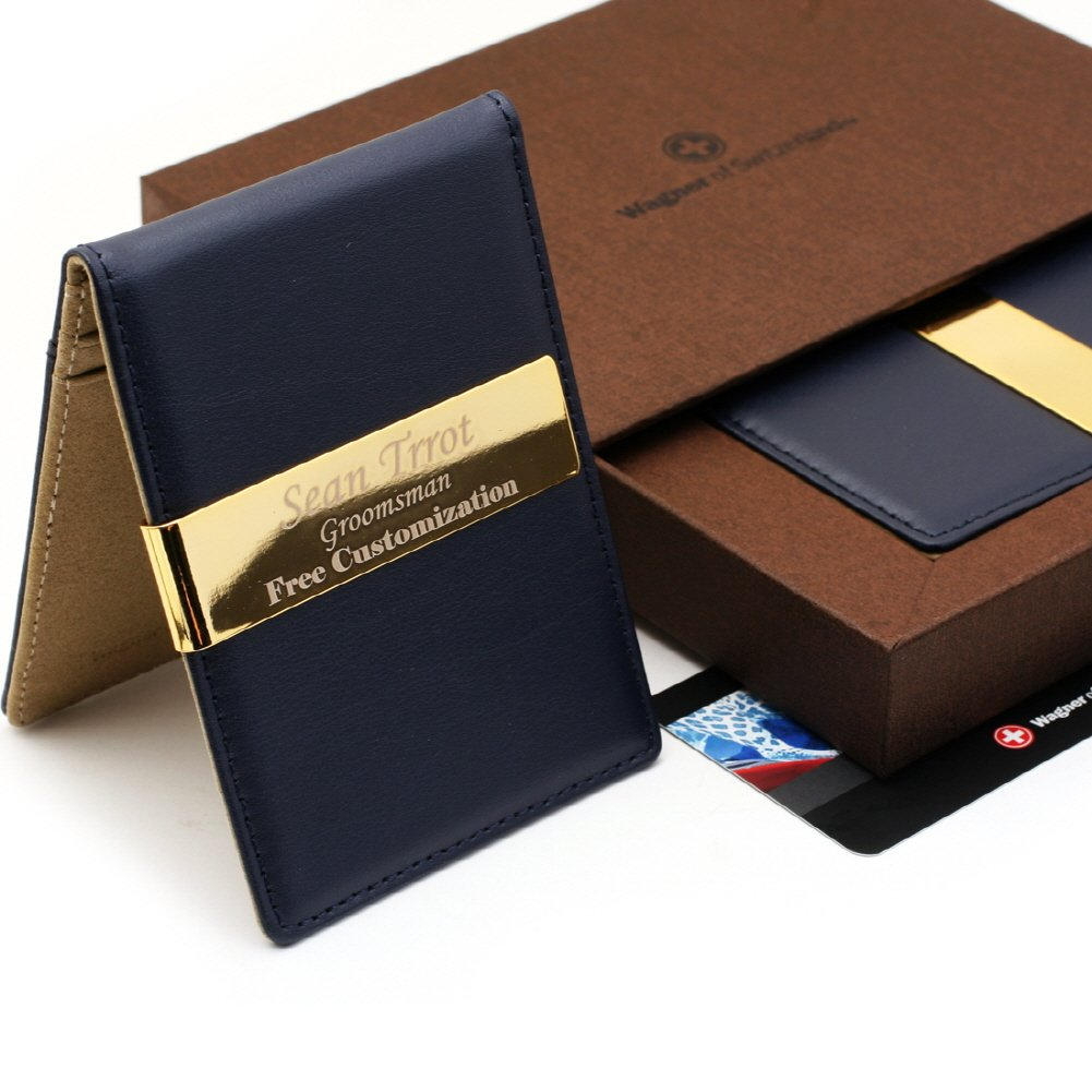Free engraving - Swiss Wagner, 24K Gold, Leather Money Clips, Card Holder, Free Customization