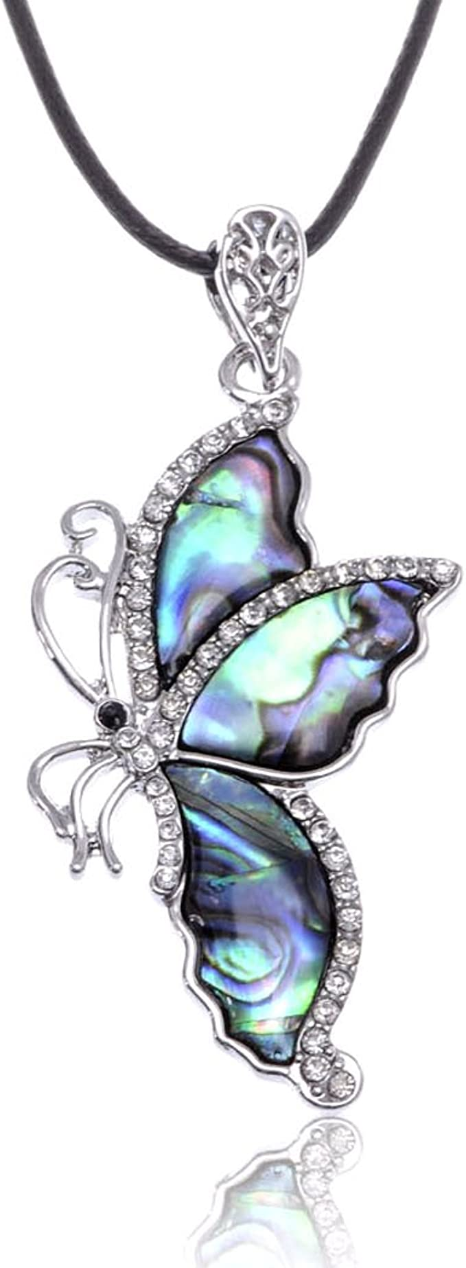 Beautiful Paua Shell Butterfly Pendant Earrings Set