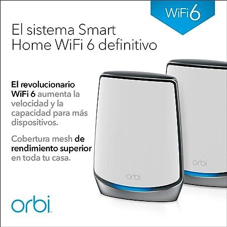 Netgear Orbi RBK852 - Sistema Mesh Wi-Fi TriBanda 6 AX6000, Cobertura de hasta 350 m² y 60 Dispositivos, Kit de 2, con 1 Router y 1 satélite: Amazon.es: Informática