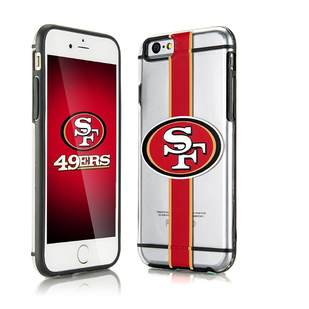iPhone 6/6s Case, Dreamwireless Hydroclear SMU 3D Print San Francisco 49ers Dual Layer [Shock Absorbing] Protection Hybrid PC/TPU Rubber Case Cover For Apple iPhone 6/6s, Red
