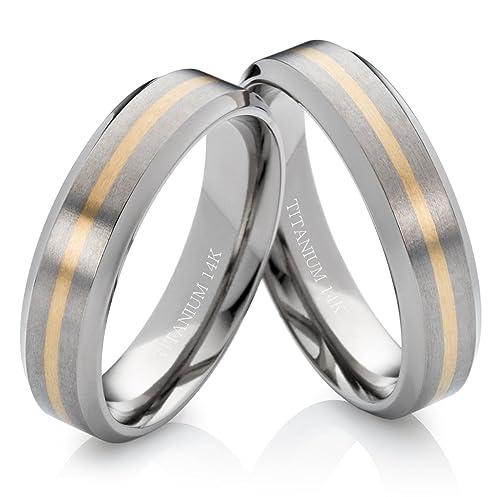alianzas alianzas de anillos de compromiso de titanio y 585 oro 6 mm sin piedra con grabado láser tg173: Amazon.es: Joyería