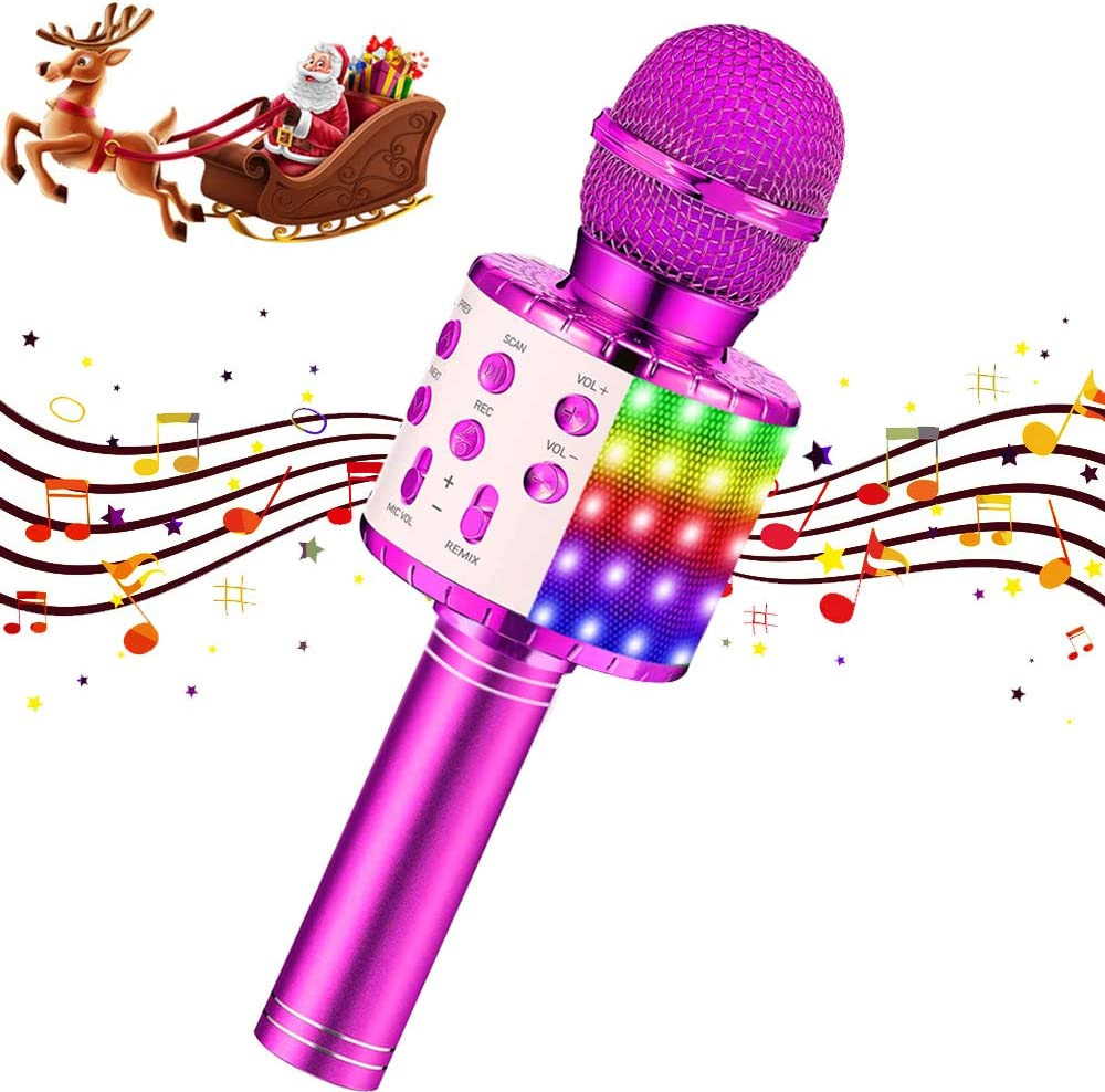 Karaoke Microphone Kids Wireless Bluetooth Portable Mic with LED Handheld Machine Children Toy Speaker Music Singing for Home Party Kid Birthday KTV Christmas Festival Gift (Purple)
