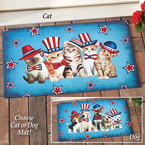 Whimsical Patriotic Americana Pet  Welcome Mat Rug Front Doormat Cats or Dogs