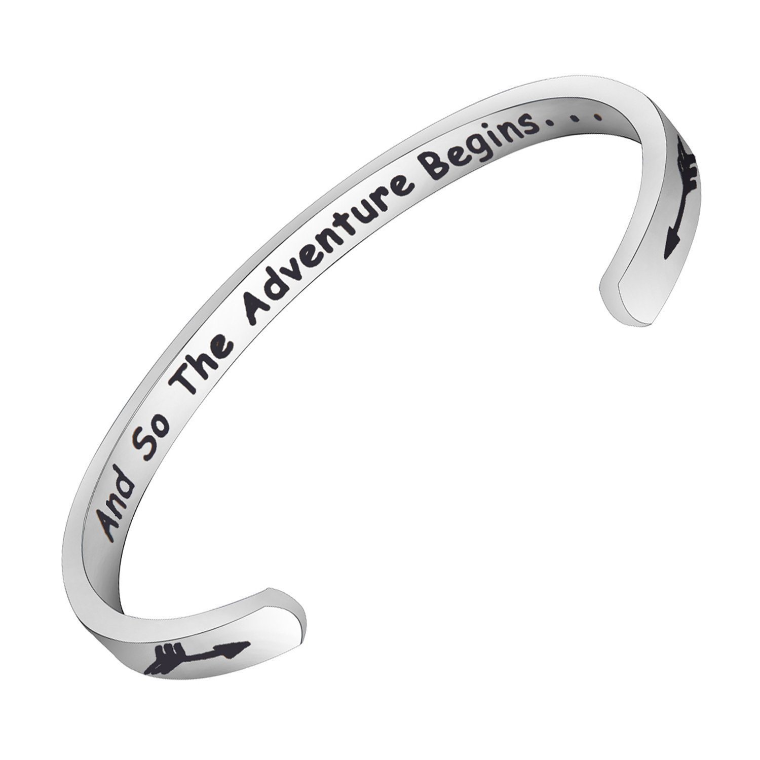 FEELMEM And So the Adventure Begins Cuff Bracelet Traveling Bracelet Moving Away Going Away Graduation Gift Class of 2018 2019 Gift (Silver)
