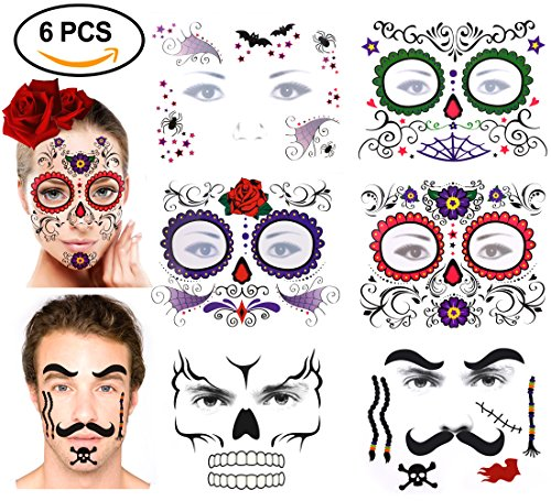 Halloween Temporary Face Tattoos Kits, Konsait Day of the Dead Black Skeleton Red Roses Skull Spider Bat Full Face Mask Tattoo for Women Men Adult Kids Boys for Halloween Party, Waterproof (6 Pack) (Temporary Face Tattoos Halloween)