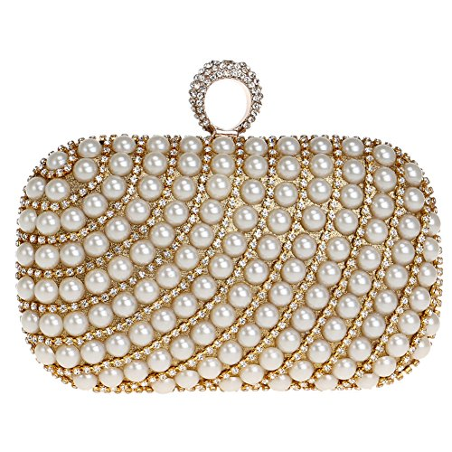 Chain Purse Evening Women's Wallet Dress Ladies Bags Clutches Pearls Bridal Bag Prom Gold UqqBw0