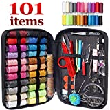 MYFOXI Sewing Kit for Adults, Kids, Home, Travel, Sew Repair, - 101pc Deluxe Mini Sewing Supplies Set with Thread and Needle, Stitch Ripper, Buttons, Safety Pins, Zippered Organizer Sew Box