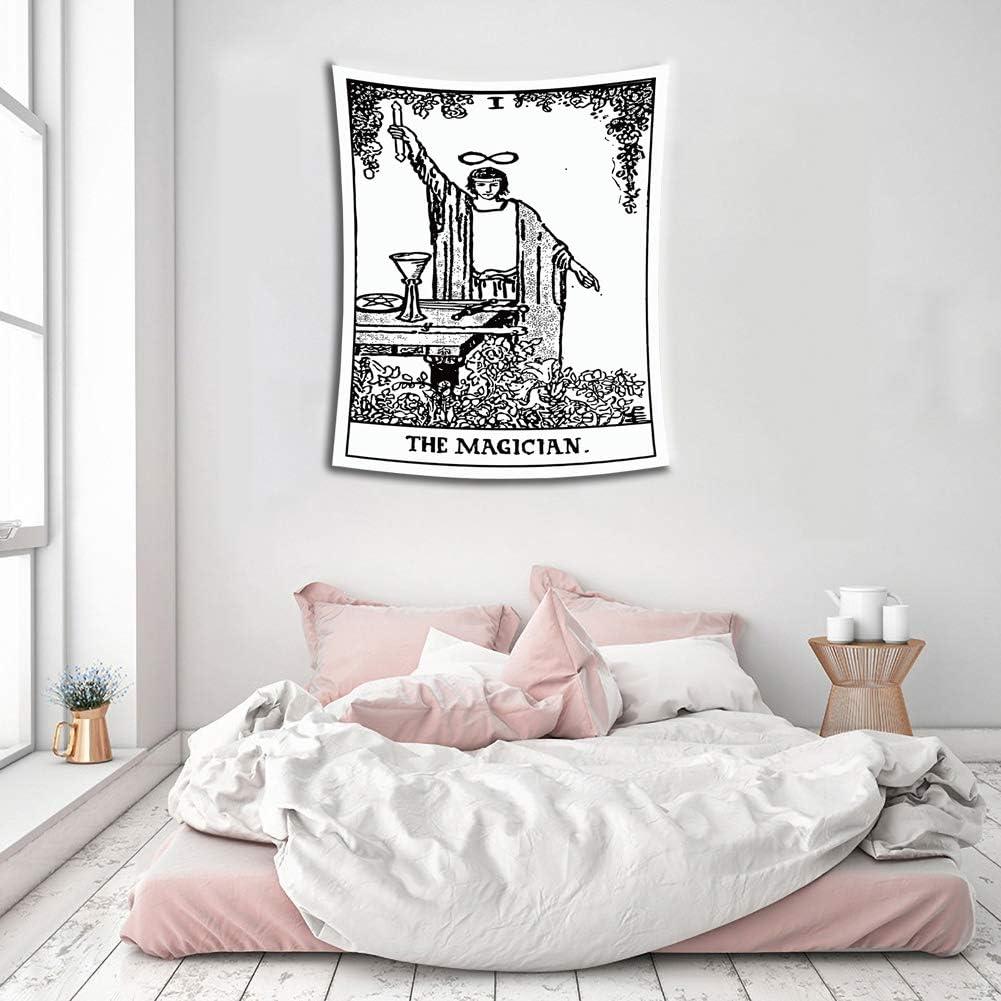 Deciduous Tarot Tapisserie Sonne Mond Stern Schwarz Weiss Wandteppich Wandbehang Mittelalterliche Europa Weissagung Wandgem/älde Wandbild Schlafzimmer Wanddecke Tischdecke Yoga Mat,Ace,150X100cm