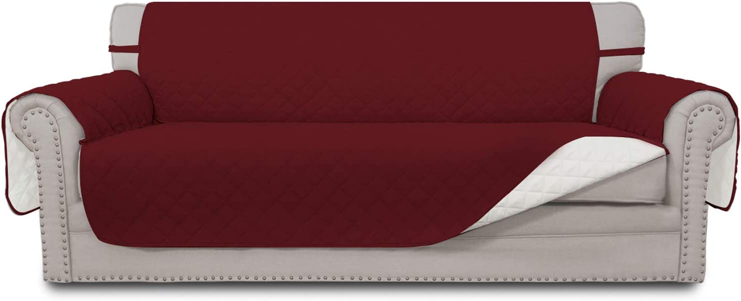 Easy-Going Sofa Slipcover Reversible Sofa Cover Water Resistant Couch Cover Furniture Protector with Elastic Straps for Pets Kids Children Dog Cat(Oversized Sofa,Christmas Red/Ivory)