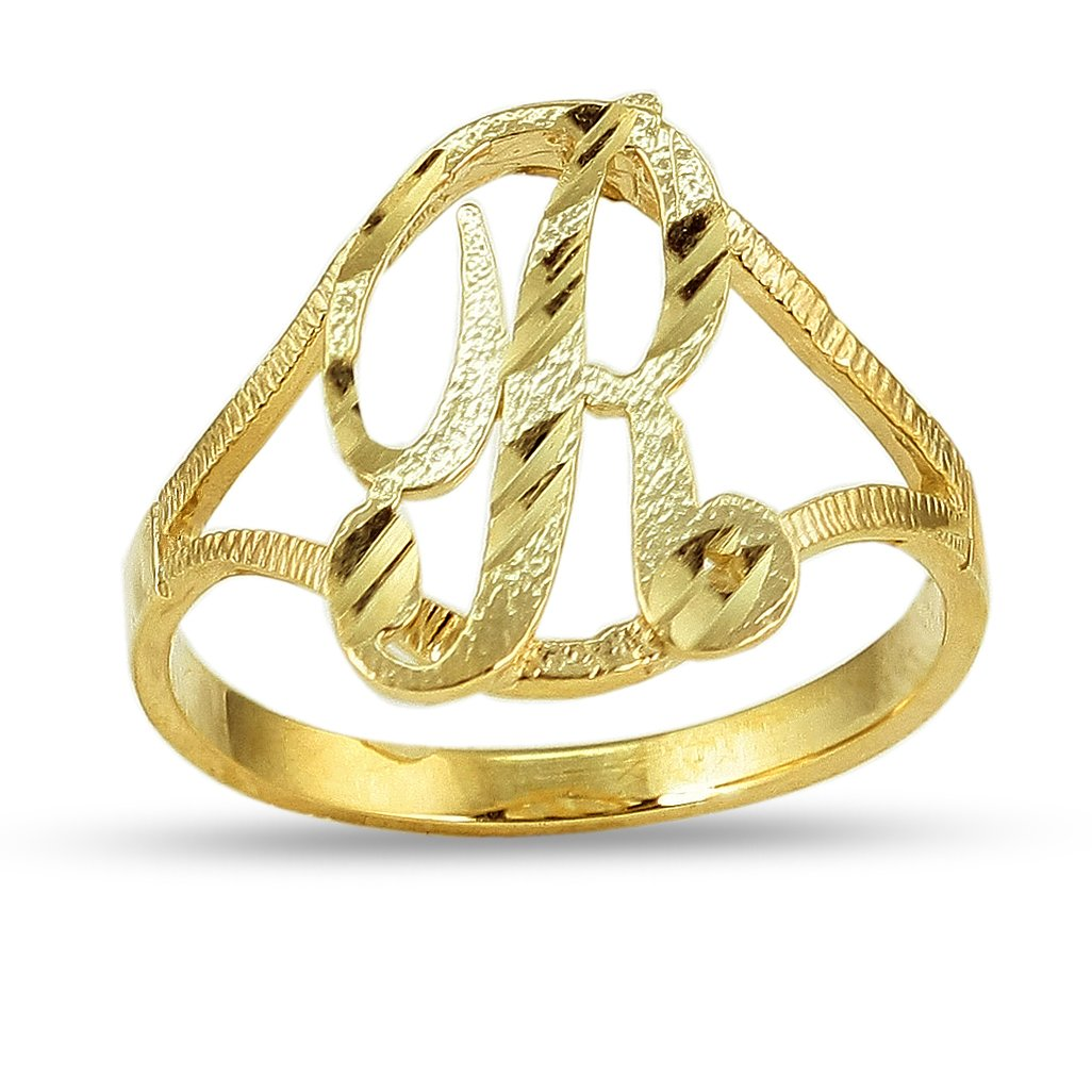LOVEBLING 10K Yellow Gold Ladies Cursive Alphabet Initial Ring (R, 8)