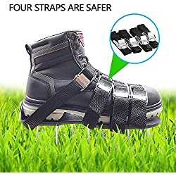 Pawaca Lawn Aerator Shoes, Lawn Spike Sandals with Metal Buckles and 4 Adjustable Straps, Sharp Aerating Spike Shoes for Garden,Lawn (Black)