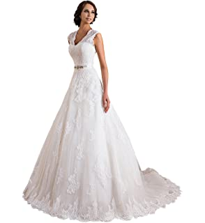 TBB Double V-Neck Sleeveless Lace Applique and Satin A-Line Wedding Dress (