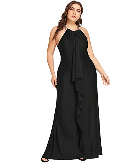 Floerns Women s Plus Size Ruffle Halter Maxi Cocktail Party Dress Black 0XL e1642fb85