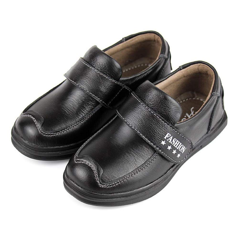 F-OXMY Boys Comfy Soft Slip On Oxfords Dress Shoes Durable School Casual Shoes (Toddler/Little Kids) Black