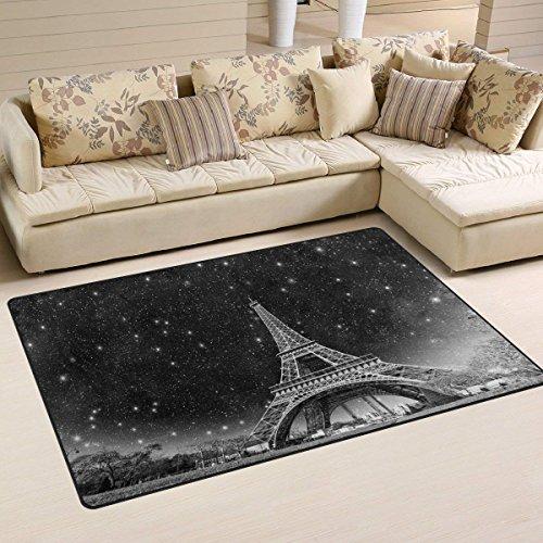 (CojicoPily Door Mat Outdoor/Indoor Entrance Floor mat Night View of Eiffel Tower in Paris Welcome Mat Shoes Scraper Doormat Area Rug 23.6x15.7 inch)