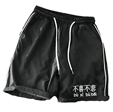 62fa0c50947a UUYUK-Men Elastic Waist Pockets Athletic Cotton Running Shorts Black US XS