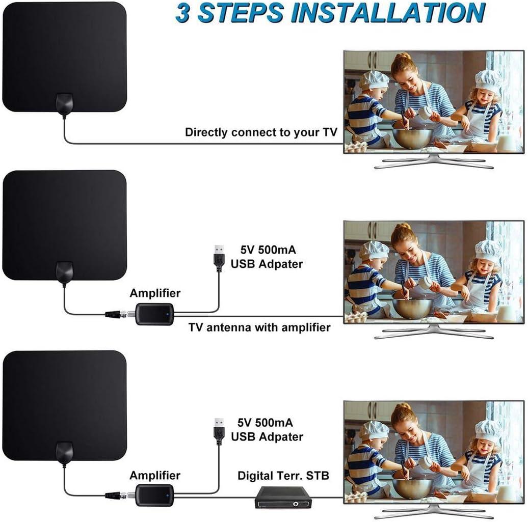 Antena de TV para interiores, URMI 65 millas amplificada de alta definición de TV digital a través de Freeview, antena HDTV digital, compatible con canales locales 4K 1080P HD/VHF/UHF para todos los