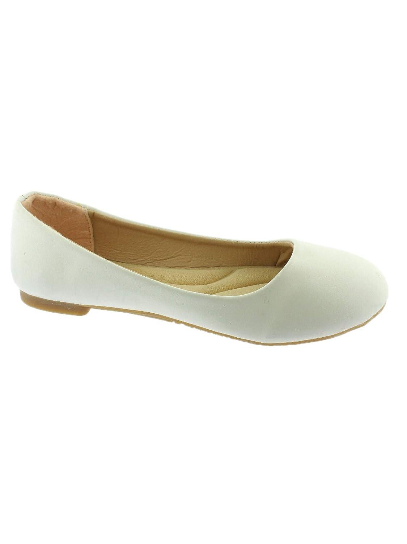 Lady Boss Girls White Rounded Toe Slip On Trendy Ballet Flats 11-4 Kids
