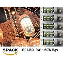 G9 (5 Pack) LED Bulb 9W (60W Halogen Equivalent) Cool White 6500K AC 110V-120V Non-Dimmable LEDs