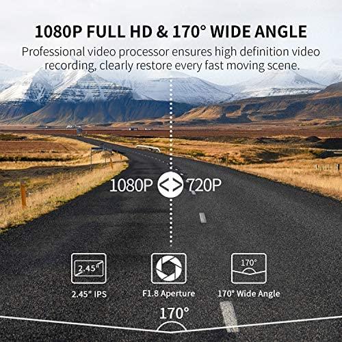 GPS Dash Cam, OIIEE Car Driving Recorder FHD 1080P DVR in Car Camera Sony Sensor Night Vision Super Capacitor 170 Wide Angle 6G Lens with Motion Detection, G-Sensor, WDR, Support 128GB Memory