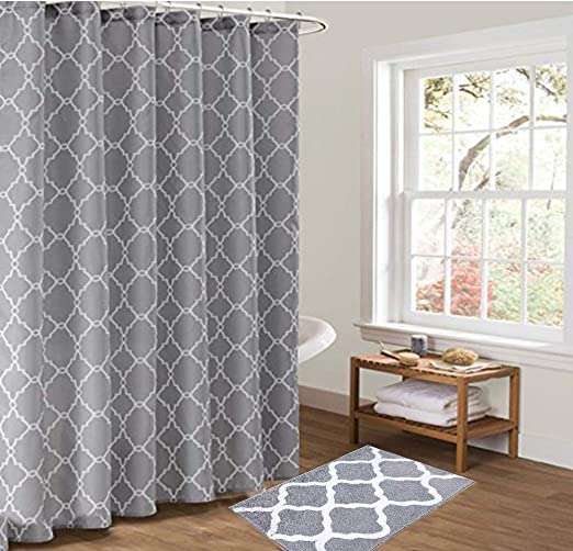 Amazon.com: Pauwer Bath Rug and Shower Curtain Set, Microfiber Non