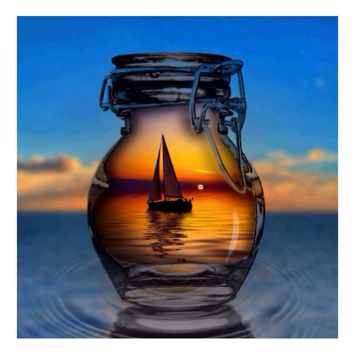 MXJSUA DIY 5D Diamond Painting Full Round Drill Kits Rhinestone Picture Art Craft for Home Wall Decor 12X12In Sailboat in Crystal Bottle