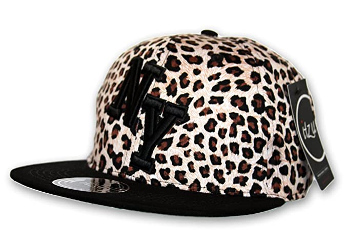 1d1ac2fbafc Image Unavailable. Image not available for. Color  Itzu Mens Snapback  Baseball Cap New York NY LEOPARD PRINT Black Hat ...