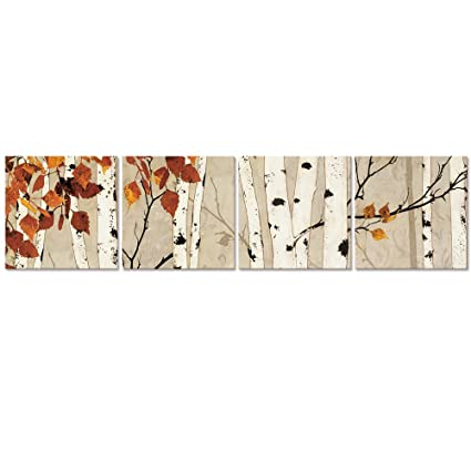 Amazon.com: Visual Art Decor Autumn Forest Birch Trees Painting ...