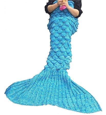 FENGT Manta De Sirena De Tejido De Punto Y Manta De Cola De Sirena Crochet con