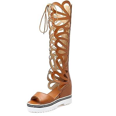 AIYOUMEI Damen Denim Peep Toe Keilabsata Sommer Stiefel Römersandalen mit Schnürung und Plateau Sommer Elegant Schuhe