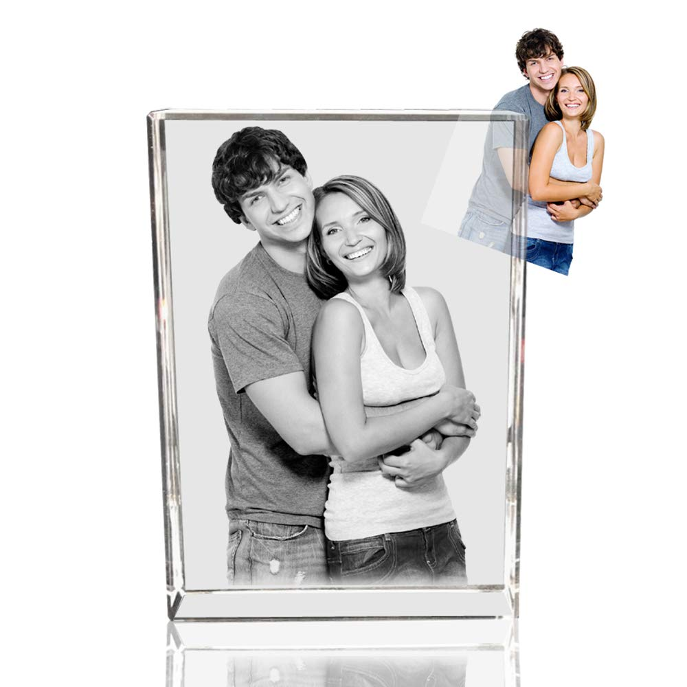 Qianruna Personalized Etched 2D/3D Laser Engraved Crystal Glass Photo Paperweight,Wedding and Birthday Gifts(Valentine's Day, Wedding, Mother's Day, Father's Day, Graduation, Memorial or Anniversary)