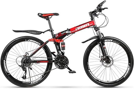 ZTIANR Bicyc Montaña De La Bicicleta, De 26 Pulgadas Duro-Cola Bicicletas De Montaña, Doble Disco De Freno Y Suspensión Delantera Tenedor 21/24/27 Velocidad Plegable: Amazon.es: Deportes y aire libre