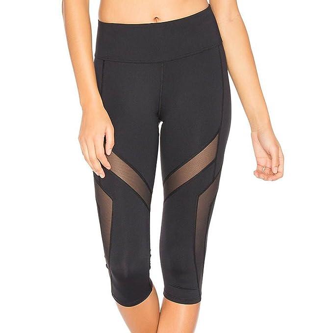 VPASS Mujer Pantalones,Elásticos Patchwork Pantalones de Yoga Mujer Fitness Mallas Gym Yoga Slim Fit Pantalones Cortos Pantalones Leggings Cintura ...