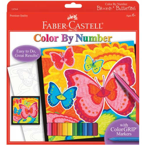 Faber Castell Young Artist Color by Number Bloomin' Butterflies - Kids Color by Number Kit with Markers