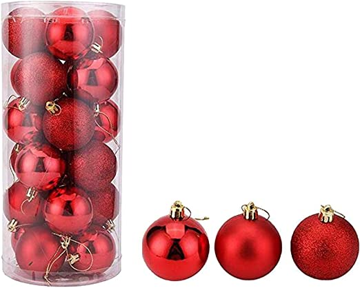24PCS Mini Christmas Tree Ball Bauble Hanging Home Party Ornaments Gift Pendant